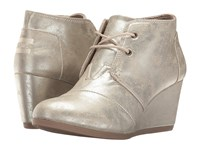 Toms Desert Wedge White Gold Metallic Synthetic Leather Women's Wedge Shoes