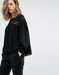 Baandsh Jimmy Blouse With Cut Work Panels Black