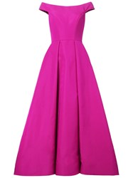 Christian Siriano Off Shoulder Pleated Dress Pink And Purple