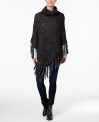 David And Young Mixed Cable Knit Turtleneck Poncho Black