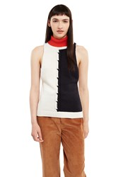 Esprit By Opening Ceremony Sleeveless Cable Knit Turtleneck Top White Multi