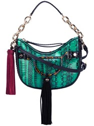 Borbonese Tassel Detail Shoulder Bag Green