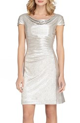 Tahari Women's Ruched Foil Knit Sheath Dress