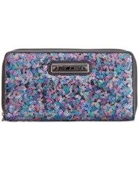 Betsey Johnson Boxed Sequin Zip Around Wallet Only At Macy's Black Multi