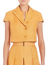 Akris Punto Ribbed Silk Cap Sleeve Jacket Tangerine