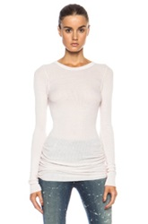 Enza Costa Rib Long Sleeve Crew Rayon Blend Tee In Pink