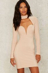 Rare London Cass Cutout Dress Beige