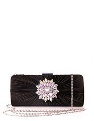 Sasha Shirred Satin Clutch Black