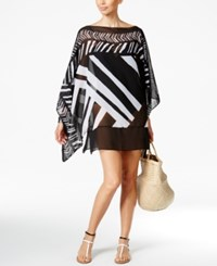 Gottex Profile By Sheer Poncho Cover Up Tunic Women's Swimsuit Black White