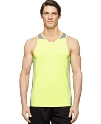 Calvin Klein Performance Mixed Media Tank Neon Yellow
