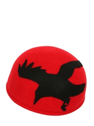 Francesco Ballestrazzi Bird Silhouette Lapin Felt Pillbox Hat Red