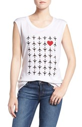 Rebecca Minkoff Women's 'Airplanes With Hearts' Graphic Muscle Tee White