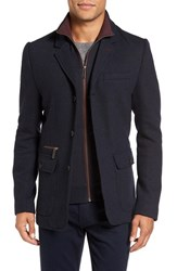 Ted Baker Men's Big And Tall London Extra Trim Fit Jersey Blazer With Removable Bib Navy