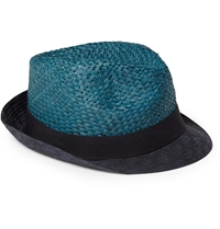 Paul Smith Cotton Trimmed Straw Trilby Hat Blue