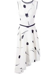 Oscar De La Renta Flower Print Asymmetric Dress White