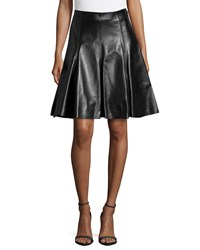 Versace Ladies Flare Leather Skirt Black