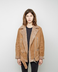 Acne Studios More Shearling Moto Jacket Brisa Blond