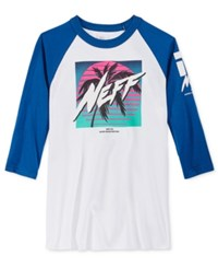 Neff Men's Raglan Sleeve Graphic Print T Shirt White Blue