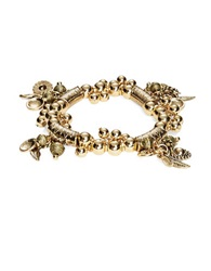 Robert Rose Stretch Beaded Charm Bracelet Gold