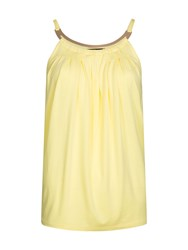 Morgan Pleated Metal Collar Detail Top Yellow