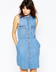 Asos Denim Sleeveless Waisted Shirt Dress In Retro Blue Wash Blue