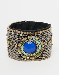 Raga Beaded Bracelet With Blue Stone Pewter Silver
