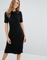 Pull And Bear Pullandbear Plisse Dress Black