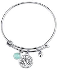 Disney Snowflake Amazonite Charm Bracelet In Stainless Steel
