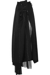 Maison Martin Margiela Asymmetric Wool And Chiffon Maxi Skirt Black