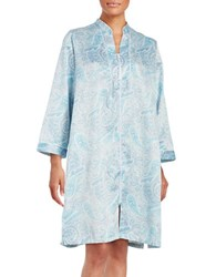 Miss Elaine Paisley Zip Up Robe Blue