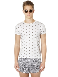 Piscine Municipale Leopard Printed Cotton T Shirt White