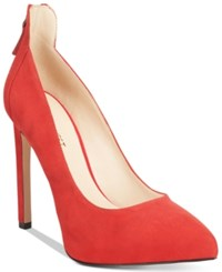Nine West Lovelost Pointed Toe Platform Pumps Women's Shoes Red Suede