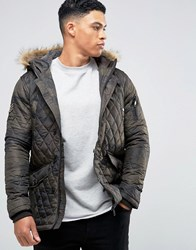 Brave Soul Camo Quilted Parka With Faux Fur Trim Hood Green