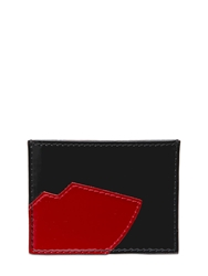 Lulu Guinness Lip Patent Leather Card Holder Black Red