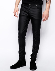 Asos Skinny Jeans In Leather Look Black
