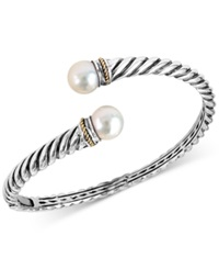 Effy Collection Effy Freshwater Pearl 9Mm Bangle Bracelet In Sterling Silver And 18K Gold White