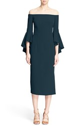 Milly Women's 'Selena' Off The Shoulder Midi Dress Peacock