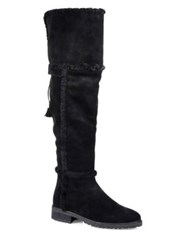 Frye Tamara Shearling And Suede Knee High Boots Taupe Black