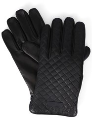 Armani Collezioni Black Logo Wool Lining Quilted Leather Gloves