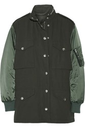 Alexander Wang Twill And Satin Parka Army Green