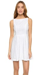 Cupcakes And Cashmere Twirl Eyelet Fit And Flare Dress Optic White