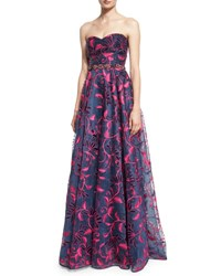 Marchesa Strapless Sweetheart Floral Embroidered Ball Gown Navy