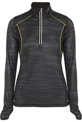 Lija Mesh Paneled Stretch Top Black