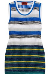 Missoni Metallic Striped Crochet Knit Tank Blue
