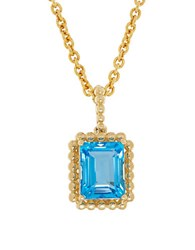 Lord And Taylor Blue Topaz 14K Yellow Gold Bead Emerald Cut Pendant Necklace