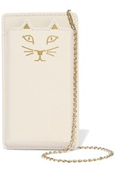 Charlotte Olympia Feline Printed Textured Leather Iphone 5 Sleeve White