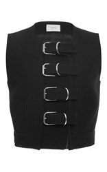 Carven Double Wool Pique Buckle Vest Black