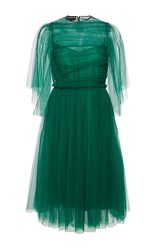 Rochas Draped Tulle Butterfly Sleeve Dress Green