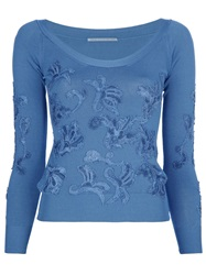Ermanno Scervino Embellished Long Sleeve Top Blue