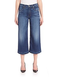 7 For All Mankind Released Hem Culottes Brillant Blue Broken Twill
